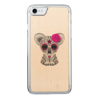 Pink Day of the Dead Baby Koala Carved iPhone 8/7 Case