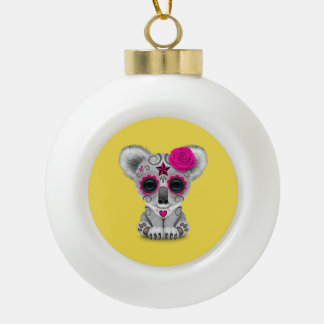 Pink Day of the Dead Baby Koala Ceramic Ball Christmas Ornament