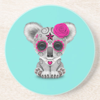 Pink Day of the Dead Baby Koala Coaster