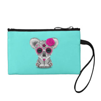 Pink Day of the Dead Baby Koala Coin Purse