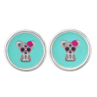 Pink Day of the Dead Baby Koala Cuff Links