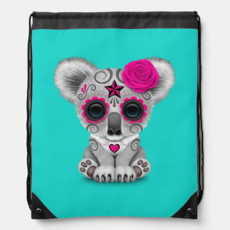 Pink Day of the Dead Baby Koala Drawstring Bag