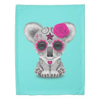 Pink Day of the Dead Baby Koala Duvet Cover