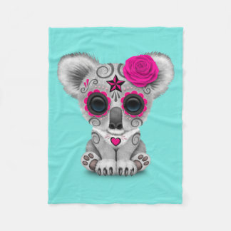 Pink Day of the Dead Baby Koala Fleece Blanket