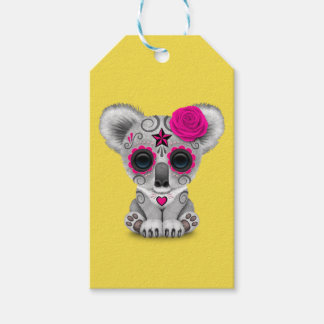 Pink Day of the Dead Baby Koala Gift Tags