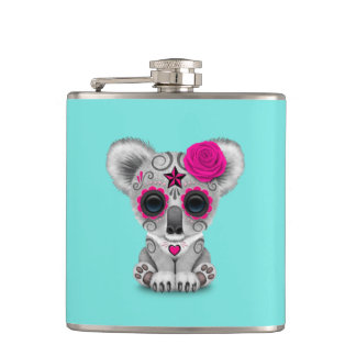 Pink Day of the Dead Baby Koala Hip Flask