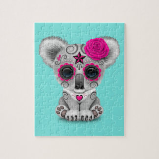 Pink Day of the Dead Baby Koala Jigsaw Puzzle