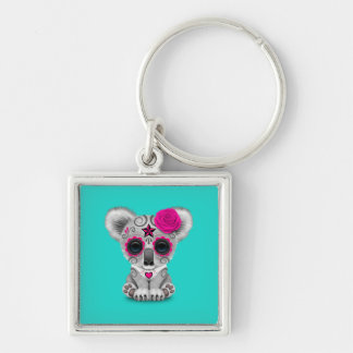 Pink Day of the Dead Baby Koala Keychain