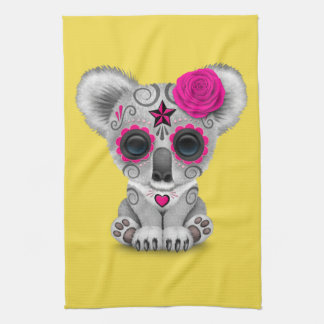 Pink Day of the Dead Baby Koala Kitchen Towel