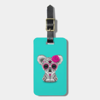 Pink Day of the Dead Baby Koala Luggage Tag