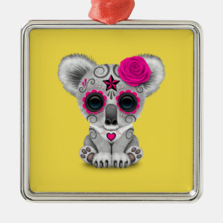 Pink Day of the Dead Baby Koala Metal Ornament