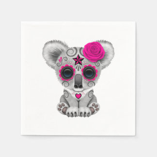 Pink Day of the Dead Baby Koala Paper Napkins