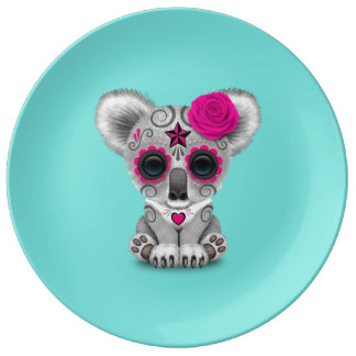 Pink Day of the Dead Baby Koala Plate