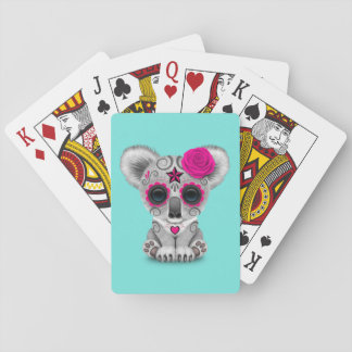 Pink Day of the Dead Baby Koala Playing Cards