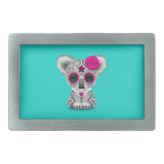 Pink Day of the Dead Baby Koala Rectangular Belt Buckle