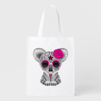 Pink Day of the Dead Baby Koala Reusable Grocery Bag