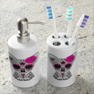 Pink Day of the Dead Baby Koala Soap Dispenser And Toothbrush Holder