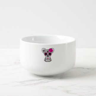 Pink Day of the Dead Baby Koala Soup Bowl With Handle