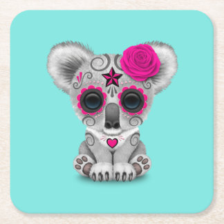 Pink Day of the Dead Baby Koala Square Paper Coaster