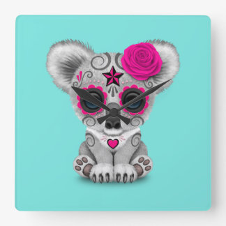 Pink Day of the Dead Baby Koala Square Wall Clock