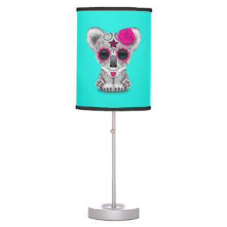 Pink Day of the Dead Baby Koala Table Lamp