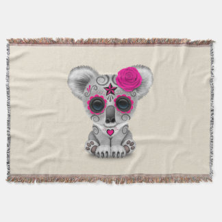 Pink Day of the Dead Baby Koala Throw Blanket