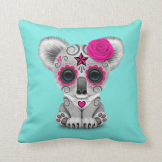 Pink Day of the Dead Baby Koala Throw Pillow