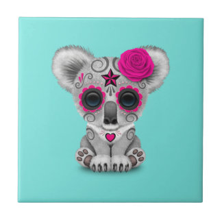 Pink Day of the Dead Baby Koala Tile
