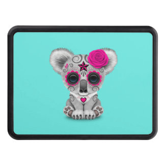 Pink Day of the Dead Baby Koala Trailer Hitch Cover
