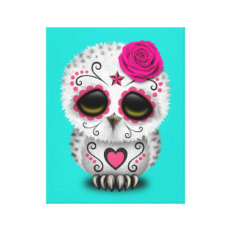 Pink Day of the Dead Baby Owl Canvas Print