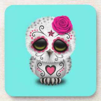 Pink Day of the Dead Baby Owl Coasters