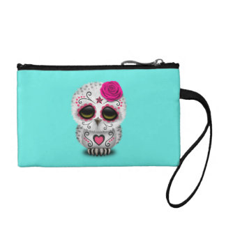 Pink Day of the Dead Baby Owl Coin Purse