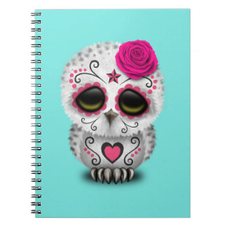 Pink Day of the Dead Baby Owl Notebook