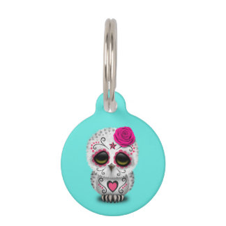 Pink Day of the Dead Baby Owl Pet ID Tag