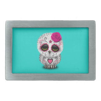 Pink Day of the Dead Baby Owl Rectangular Belt Buckles