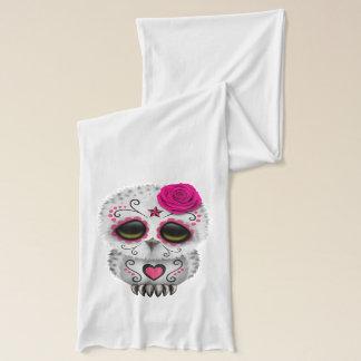 Pink Day of the Dead Baby Owl Scarf