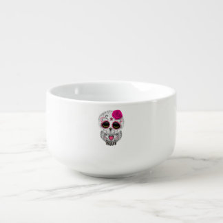 Pink Day of the Dead Baby Owl Soup Bowl With Handle