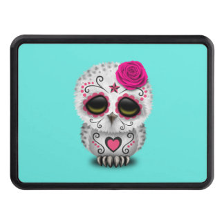 Pink Day of the Dead Baby Owl Trailer Hitch Cover