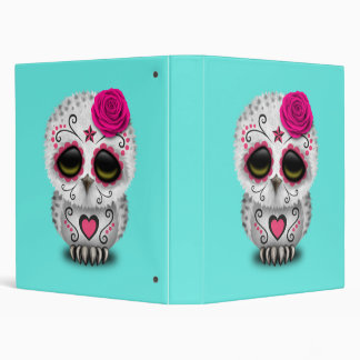 Pink Day of the Dead Baby Owl Vinyl Binder