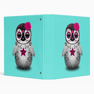 Pink Day of the Dead Baby Penguin 3 Ring Binder