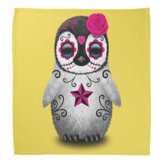 Pink Day of the Dead Baby Penguin Bandana