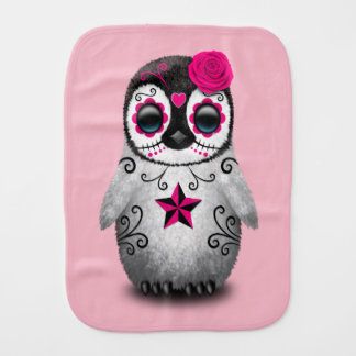 Pink Day of the Dead Baby Penguin Burp Cloth