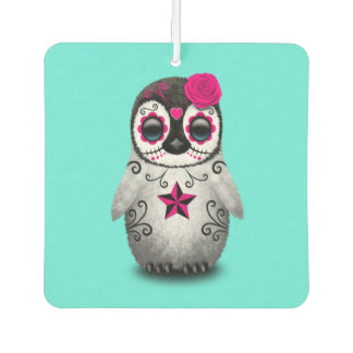 Pink Day of the Dead Baby Penguin Car Air Freshener