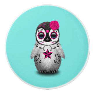 Pink Day of the Dead Baby Penguin Ceramic Knob