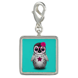 Pink Day of the Dead Baby Penguin Charm