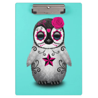 Pink Day of the Dead Baby Penguin Clipboard