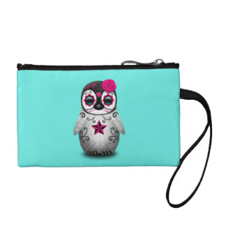 Pink Day of the Dead Baby Penguin Coin Purse
