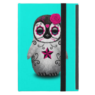 Pink Day of the Dead Baby Penguin iPad Mini Cover