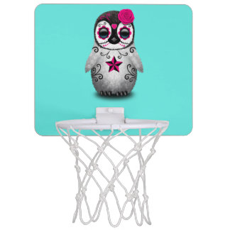 Pink Day of the Dead Baby Penguin Mini Basketball Hoop