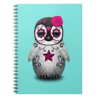 Pink Day of the Dead Baby Penguin Notebook